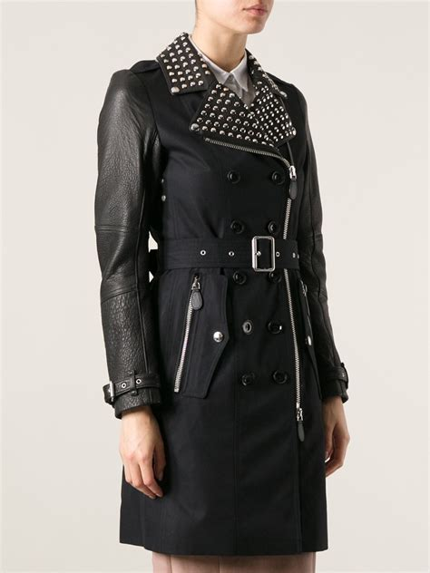 Lyst - Burberry Brit Studded Trench Coat in Black